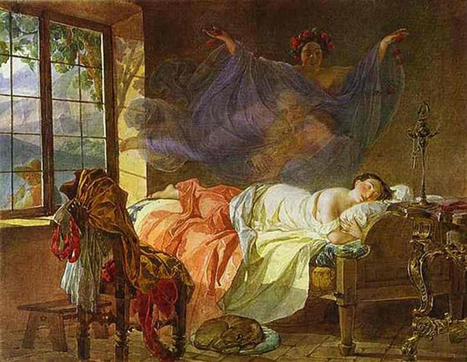 Dream of girl before sunrise - Karl Briullov