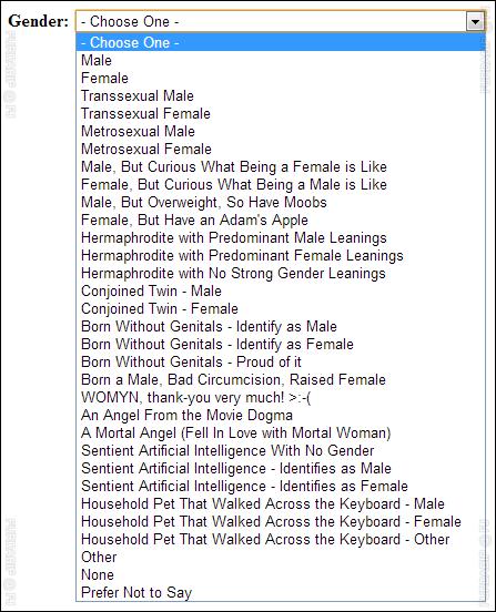 Gender Options List
